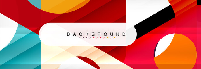 Geometric background, circles and triangles shapes banner. Illustration for business brochure or flyer, presentation and web design layout