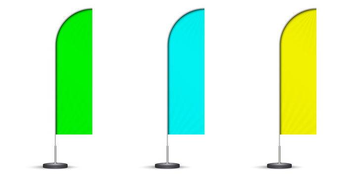 set of colored beach flags isolated on white background. blank event flags. green, blue and yellow feather flags