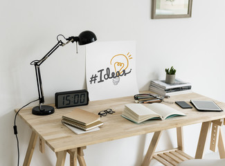 Minimal style workspace with a text Ideas