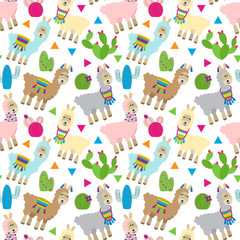 Seamless, Tileable Llama and Cactus Pattern or Background