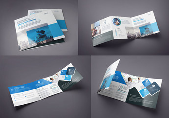 Blue and Black Square Tri-Fold Brochure Layout