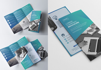 Blue Gradient Tri-fold Brochure Layout