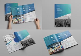 Blue Gradient Bi-Fold Brochure Layout