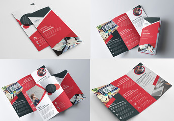 Red and Black Tri-fold Brochure Layout