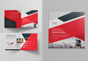 Red Square Bi-Fold Brochure Layout