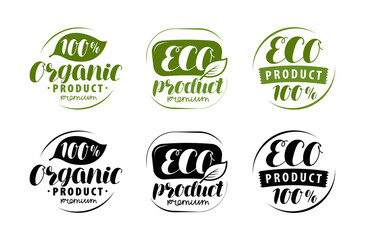 Eco logo or label. Set of healthy natural, organic product badges. Vector illustration