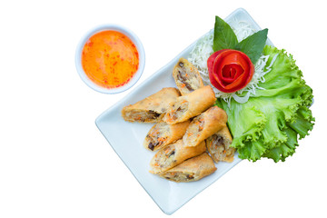 Veg. Spring Rolls and sweet chill sauce on white dish on isolated white background.Thai food and clipping path.