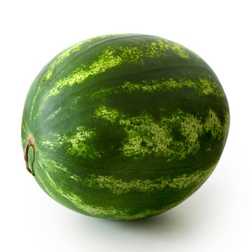 Whole watermelon isolated on white.
