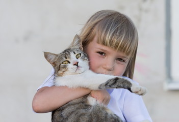 Girl, cat, embrace, fun, close up