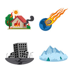 Isolated object of natural and disaster sign. Collection of natural and risk vector icon for stock.