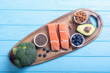 Healthy food with salmon