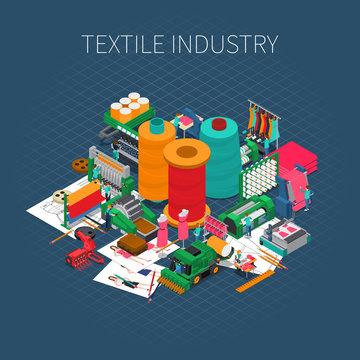Isometric Textile Print Background