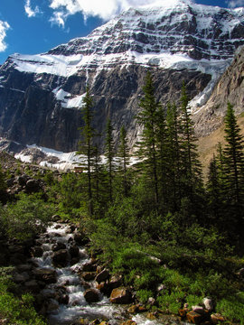 Mount Edith Cavell mountain near the Athabasca River and in the Astoria River valleys of Jasper National Park, Alberta, Canada