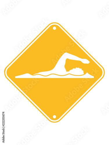 Schwimmen Gefahr Vorsicht Hinweis Achtung Danger Schild Schwimmer