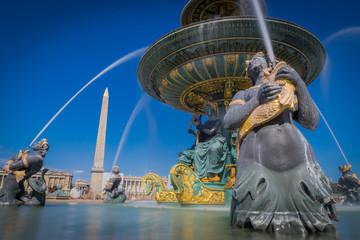 Paris, France - 08 18 2018:  La Place de la Concorde - L'Obélisque de Louxor et la Fontaine des mers