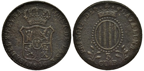 Spain Spanish Catalonia Catalonian coin 3 three quarts 1846, crowned shield with lions and towers, date below, vertical oval with stripes within circle of beads, crown above, value below,