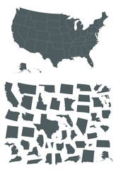 Map of Usa with different states