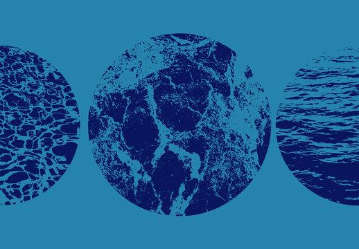 円形水テクスチャオーバーレイセット