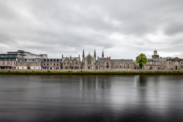 View of river Ness and Cathedral of Inverness