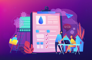 People near huge paper tablet with report of water flow and checkboxes analyzing data. Water management, ecology, IoT and smart city concept, violet palette. Vector illustration on violet background.