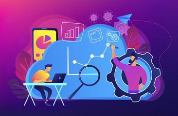 Developers drawing chart, monitoring applications. Computing resourses, operaing data and services, cloud technology organization and management concept, violet palette. Vector isolated illustration.