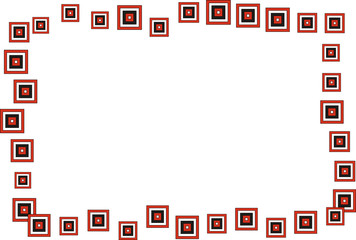 Marco de cuadrados rojos y rombos amarillos.