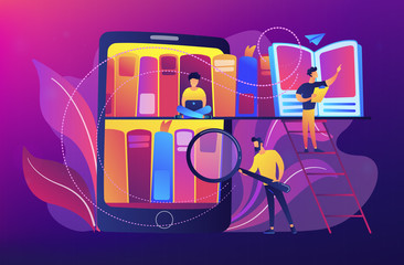 Tablet with bookshelves and students searching and reading information. Digital learning, online database, content storing and searching, ebooks concept, violet palette. Vector illustration.