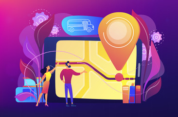 Parents looking at school bus location pin and map on tablet. Child tracking system, school bus route, child safety, security concious parents concept, violet palette. Vector illustration.