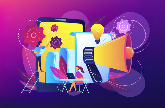 Tablet with loudspeaker and team working on white paper. ICO investment document, startup business strategy, product development plan concept, violet palette. Vector illustration.