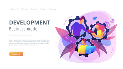 IT team members working as one mechanizm. Dedicated team - software development professionals engaged to the IT project. Business model in IT concept. Violet palette. Website landing web page template