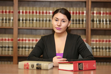 Young attractive female activist. Young woman lawyer in law office