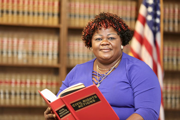 Activist lawyer, African American women attorney in law office