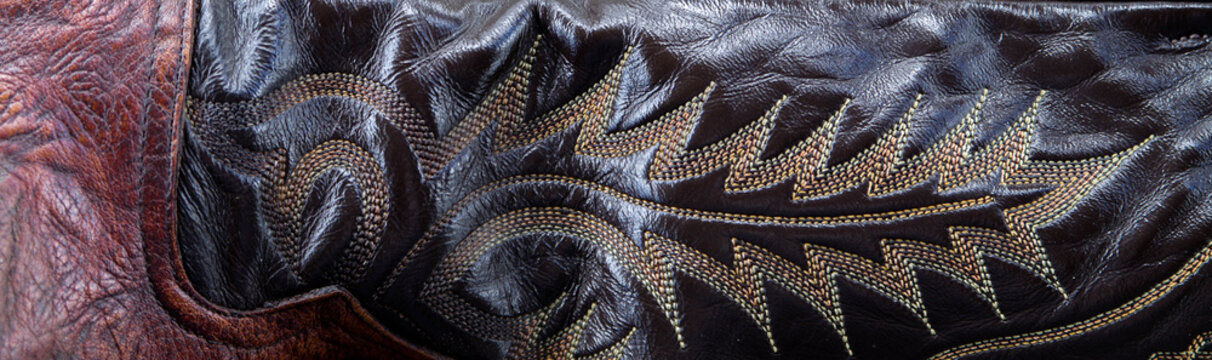 Western leather boot stitching