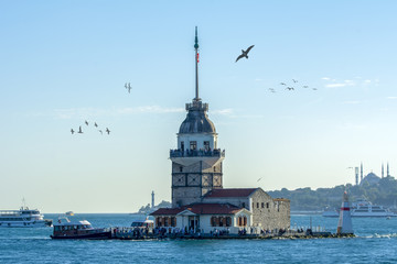 Maiden's Tower or Kiz Kulesi located in the middle of Bosporus, Istanbul