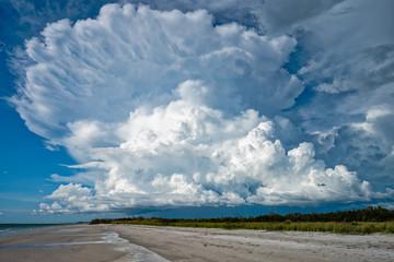 Towering cumulus cloud over dark skies