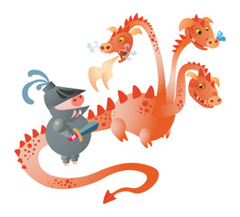 A  funny 3-heads dragon and pig knight with a sword. Vector illustration. Isolated on transparent background. Excellent for the design of postcards, posters, stickers and so on.