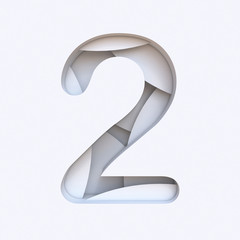 White abstract layers font Number 2 TWO 3D