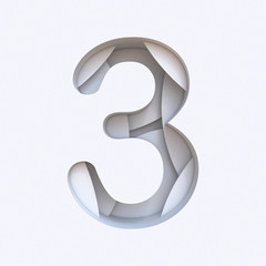 White abstract layers font Number 3 THREE 3D