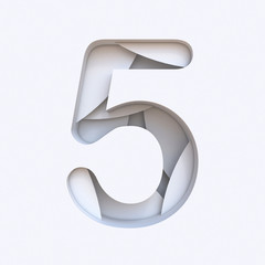 White abstract layers font Number 5 FIVE 3D