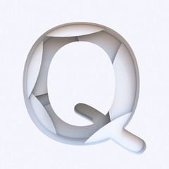 White abstract layers font Letter Q 3D
