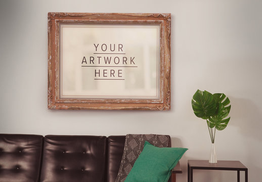 Framed Canvas in Living Room Mockup