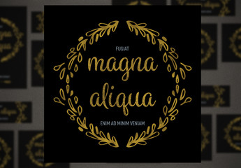Social Media Post Layout Set with Gold Ornamental Elements