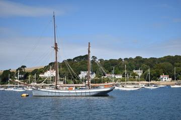 Sailing along the Fal River between Falmouth and Truro calling at Trelissick. Falmouth, Cornwall, UK, September, 2018