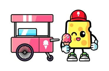 Cheese hold ice cream mascot cartoon illustration
