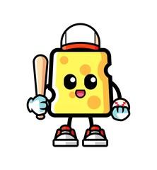 Cheese play baseball mascot cartoon illustration