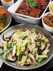 Fried areca tender shoot with mushrooms , taiwanese cuisine