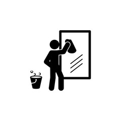 man wiping mirror icon. Element of man cleaning icon for mobile concept and web apps. Glyph man wiping mirror icon can be used for web and mobile