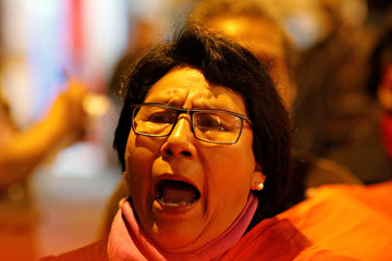 A demonstrator takes part in a protest against corruption in public institutions, in Lima