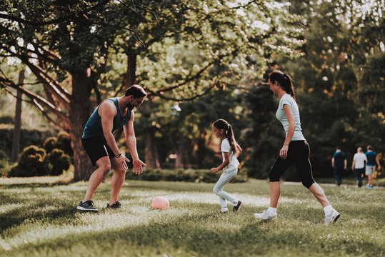 Happy Young Family Have Fun Outdoor in Summer Park