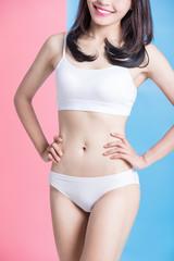 woman show her thin waist